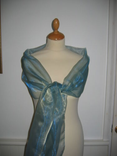 Two tone light teal Shimmer Organza wrap//stole Bridesmaid Prom Eveningwear