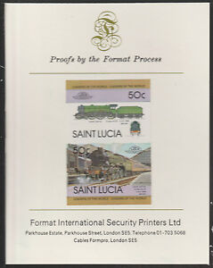 St Lucia (2013) Locomotives #1 Leeds United imperf on Format PROOF CARD