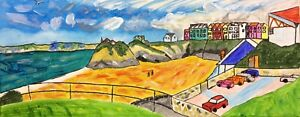 Newquay Towan Beach Nigel Waters Neuf Août 17 Original Acrylique Sur Toile Peinture-afficher Le Titre D'origine