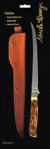 SCHRADE-Uncle-Henry-OA12-039-039-Fillet-Knife-hunting-camping-fishing-w-leather-sheath