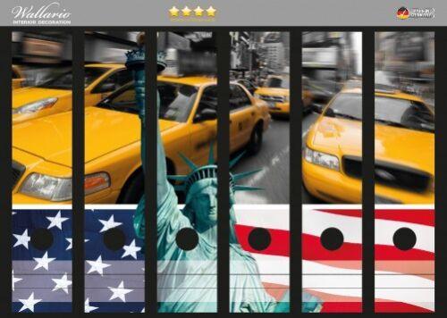 Wallario Ordnerrücken selbstklebend für 6 breite Ordner New York Collage Taxi