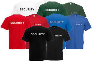 Securite-t-shirt-tee-avant-et-arriere-Unisexe-gratuit-uk-post-evenement-crew-personnel-de-police
