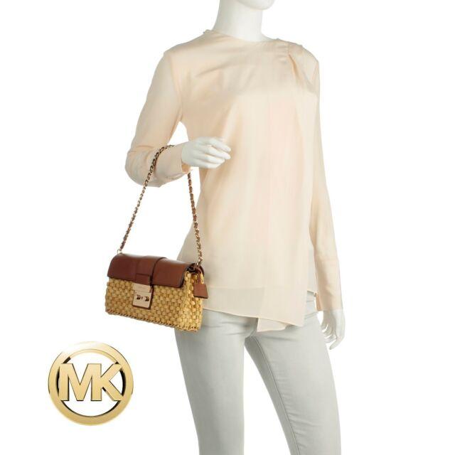 b5e22839eb91 Michael Kors Straw Gabriella Large Clutch Bag Purse Brown Walnut Leather 228