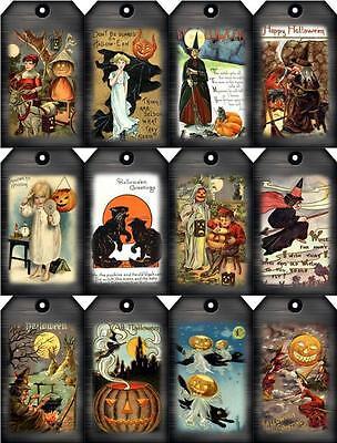 12 HALLOWEEN - WITCH CAT MAGIC VINTAGE 155 LB PAPER CRAFT CARD SCRAPBOOK TAG
