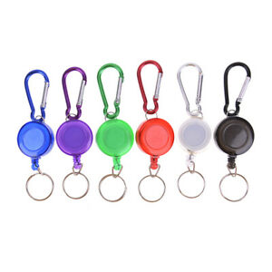 Multicolor-badge-reel-retractable-keychain-keyring-key-chain-steel-cord-Nj