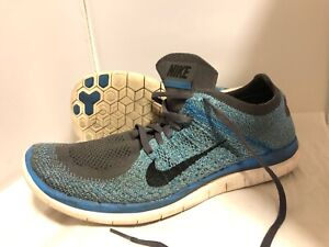91d7ff604b39 MENS NIKE FREE 4.0 FLYKNIT RUNNING SHOES SIZE 12 BLUE GRAY WHITE
