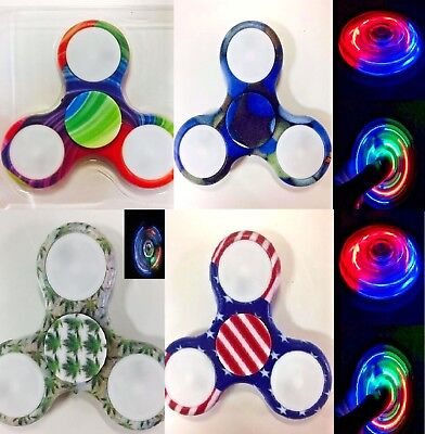 8x Assorted 4 styles Led Flashing Hand Spinner Fidget Toy Desk Focus Toy