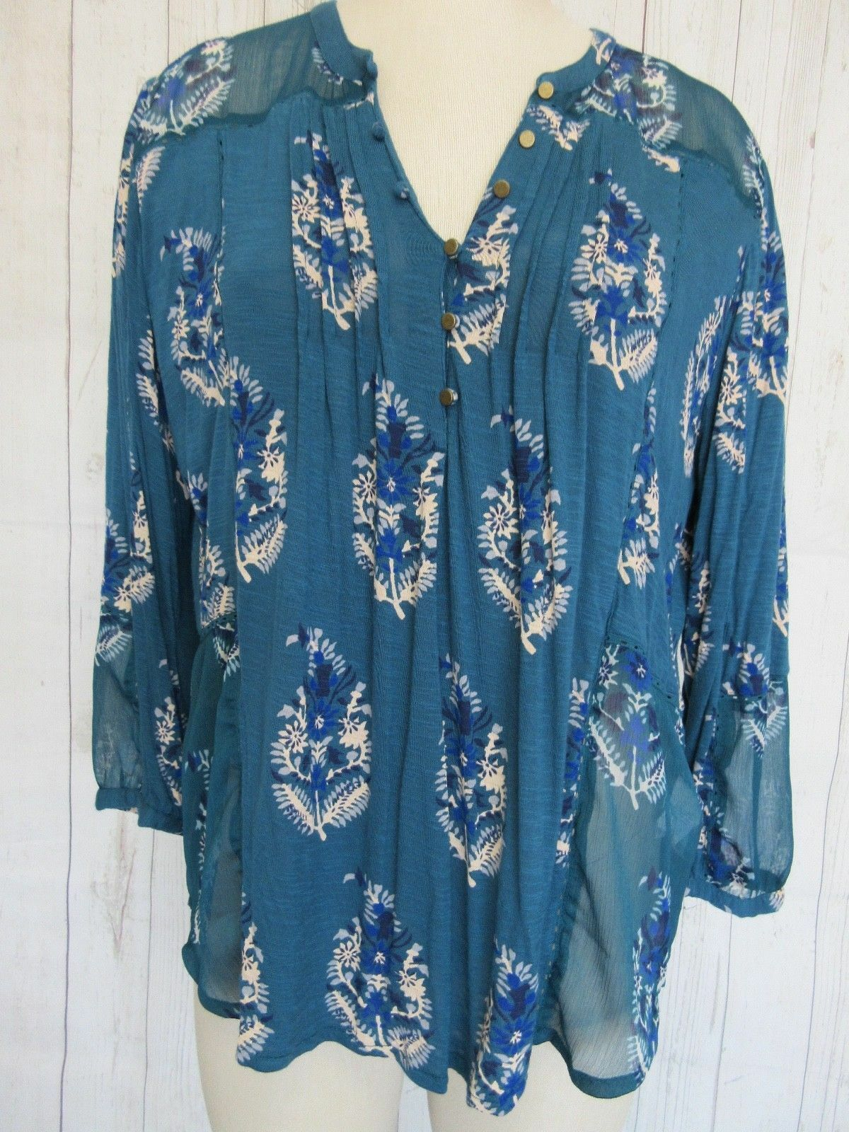 Lucky Brand Größe XL Teal Blau Floral Sheer Panel 3 4 Sleeve Blouse Top