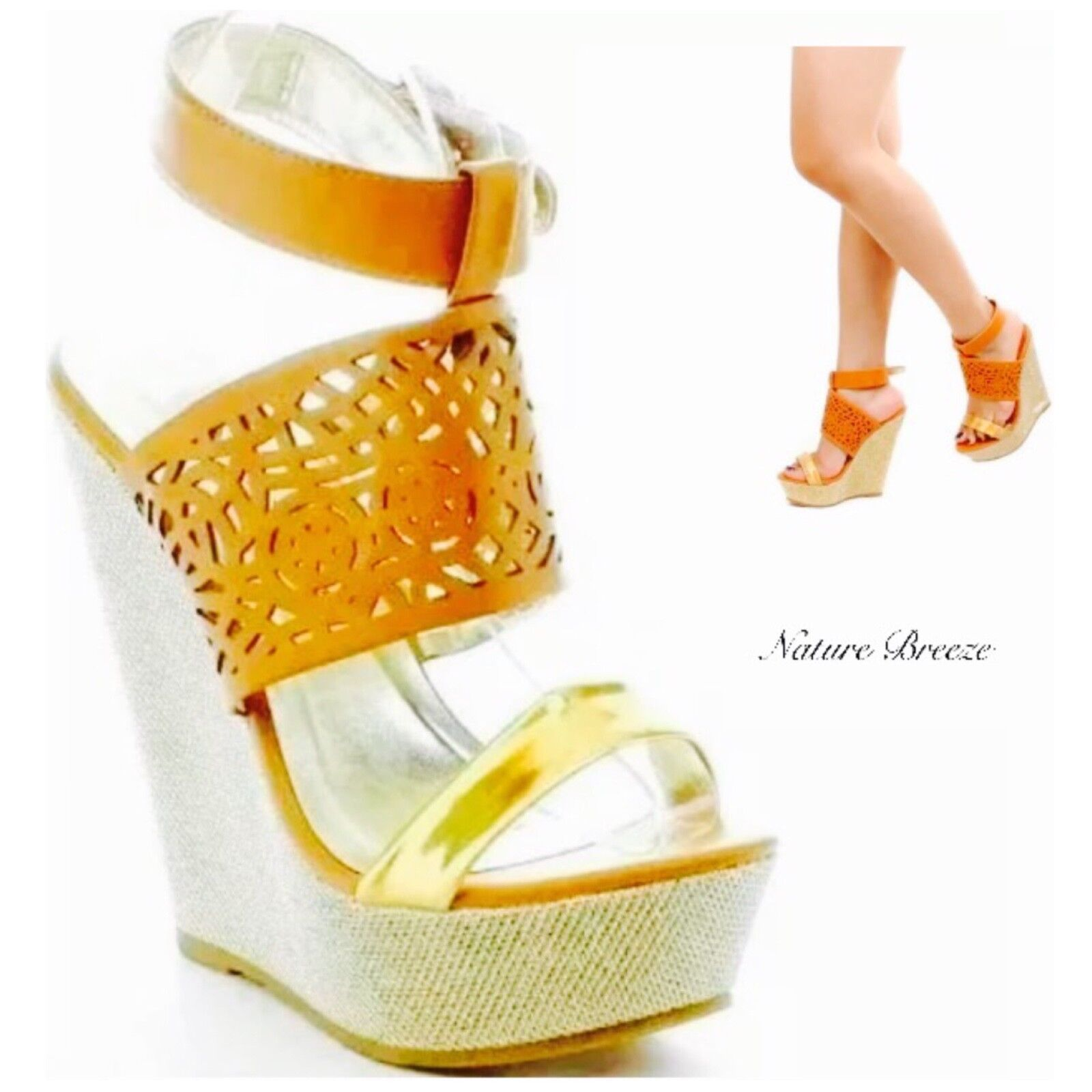 New Fashion Women's Sandals Sexy High Wedge Glitter Open Toe Shoes Tan