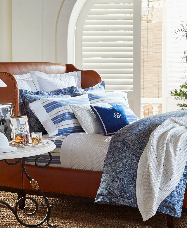 Ralph Lauren Allister Leighton Wool 16  Square Decorative Pillow NAVY  215 H1080