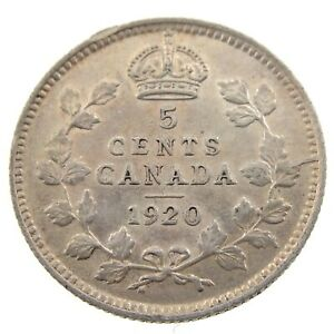 1920-Canada-5-Cents-Small-Silver-Circulated-George-V-Five-Cents-Coin-P416