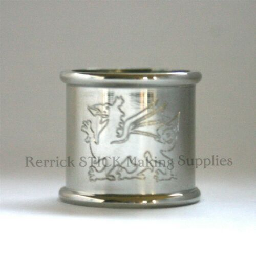 BEADED NICKLE SILVER COLLAR FOR WALKING STICK WELSH DRAGON ENGRAVED 21mm