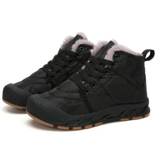 Kids Ankle Snow Boots Boys Girls Winter Warm Fur Lined Lace Up Waterproof Shoes
