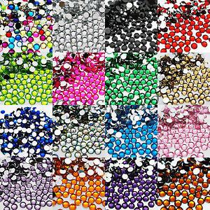 100-1000-RHINESTONES-GEMS-8mm-ACRYLIC-FLAT-BACK-ART-CARDS-19-COLOURS-NEW-BLING