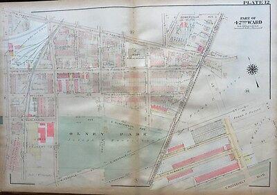1923 G.w Bromley Philadelphia Pa Boudinot-2nd St Olney School & Park Atlas Map Handsome Appearance