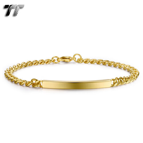 TT Slim Gold Tone Stainless Steel ID Bracelet Length 21.5cm NEW BBR232J