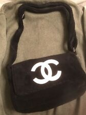 New Chanel Precision Black White Cross Body shoulder Bag Plush Beaute