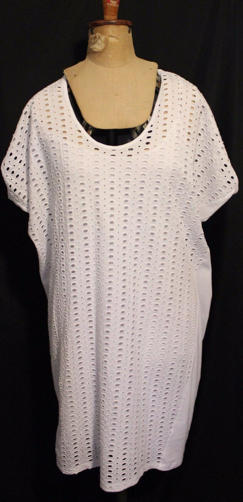 COUNTRY ROAD  White Broderie Anglaise Lace Cotton Dress w Shift Slip Lining M