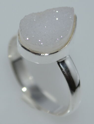 Blanco con drusa 925 Sterling Silver Ring Druzy de piedras preciosas naturales; Todas las Tallas K a y
