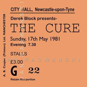 Details about The Cure/Robert Smith Concert Coasters May 1981 Ticket Coaster