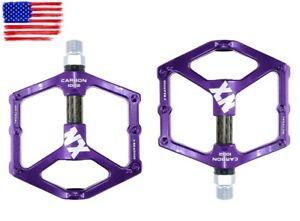 Magnesium-alloy-Road-MTB-XC-Bike-Pedals-flat-Pedal-Carbon-tube-3-bearings-Purple