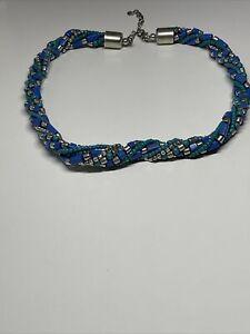 Collier Ancien Vintage Perles Bleu  R 6