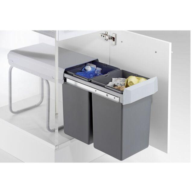 Wesco Einbau Abfallsammler, Double Boy, 2x15 Liter, Auszug Küchen Abfalleimer
