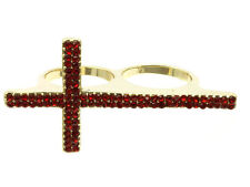 Gold Cross 2-Finger Ring with Red Crystal Bling