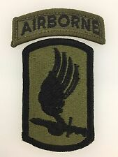 GENUINE U.S. Army Vietnam War 173rd Airborne Brigade cloth sleeve patch & tab