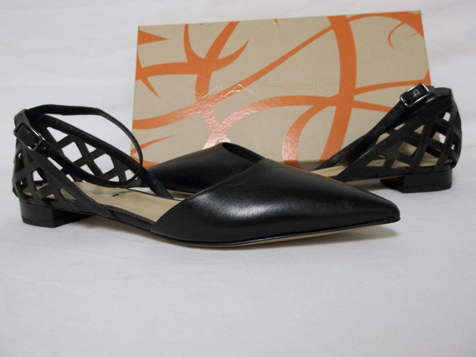 Via Spiga Spiga Spiga tamaño 6.5 M Valenca Negro Cuero Tira al Tobillo Zapatos sin Taco nuevo para mujer  autorización