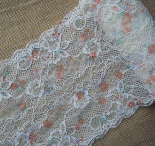 """3.2 Yards 7/"""" Wide Lovely White Stretch Lace with Colorful Flower 518"""