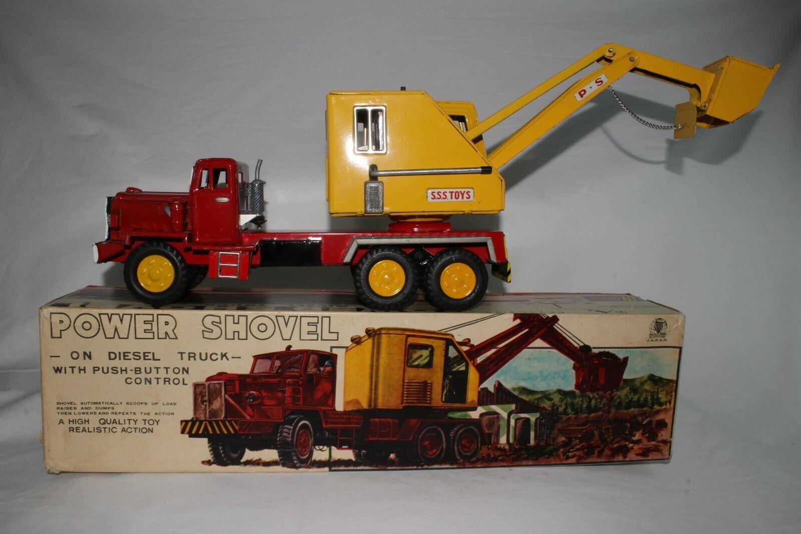 1960's Sss Toys Of Japan Groß Offroad Blech Schaufel Lkw mit Kiste,Schön