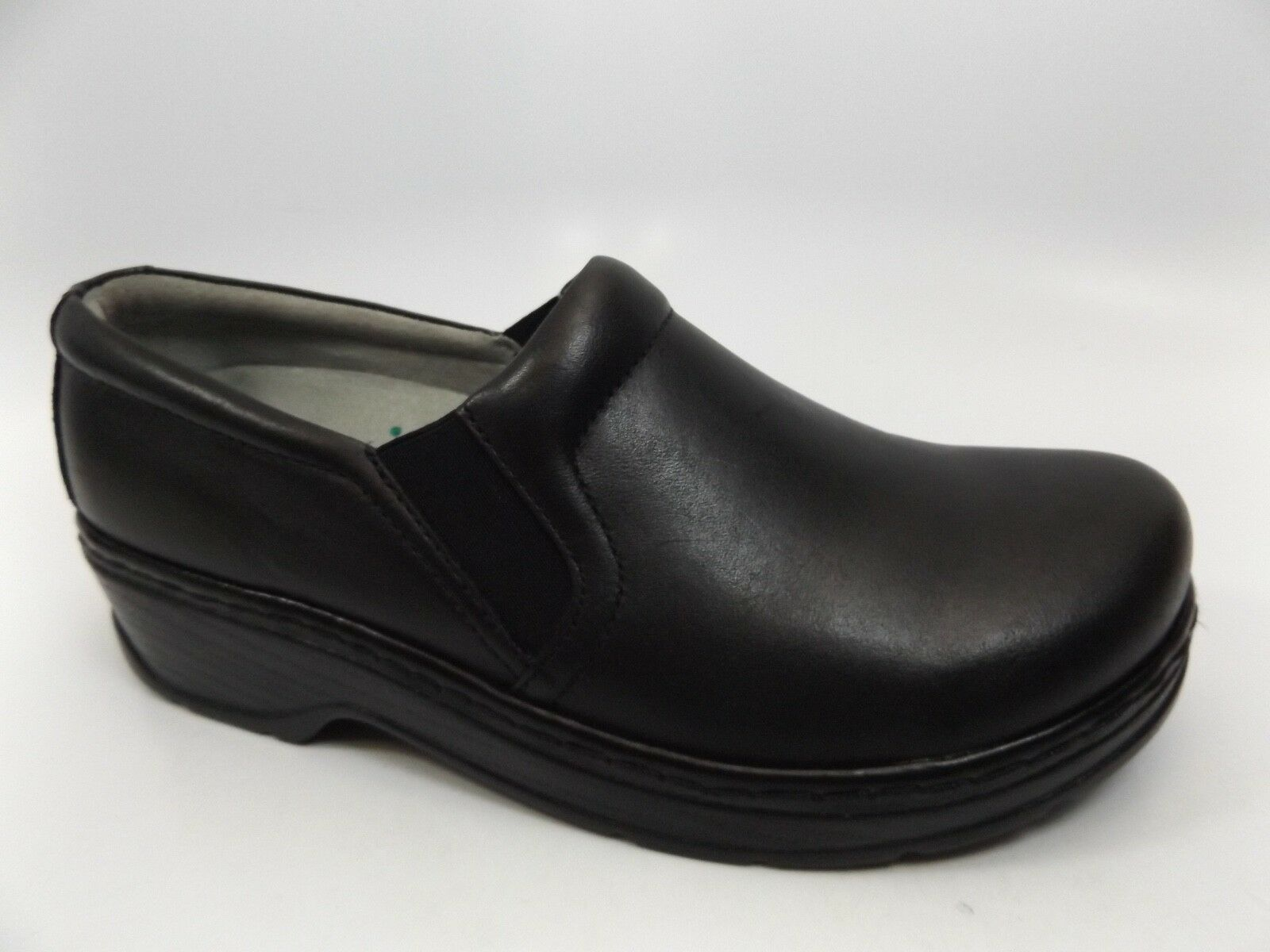 KLOGS FOOTWEAR NAPLES CLOGS BLACK LEATHER WOMEN'S SZ 11.0 WIDE PRE OWNED D7722