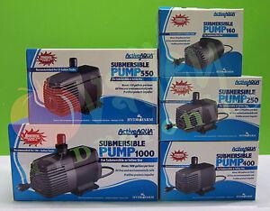 SUBMERSIBLE WATER PUMP: 160 250 400 550 1000 GPH Hydroponics Active Aqua HF