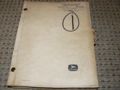 John Deere 55 Combine Dealer/'s Parts Book