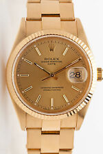 Estate $20,000 Genuine ROLEX Date Mens Oyster 18k Yellow Gold Watch WRTY & BOX