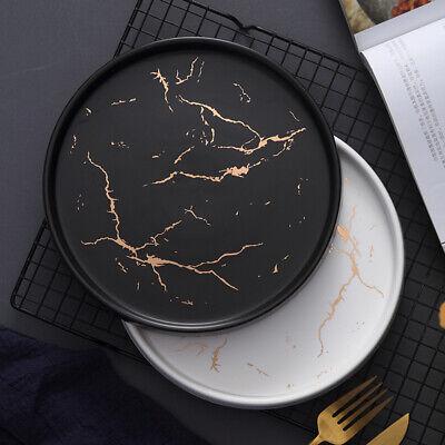 Gold Black White Marble Ceramic Plate