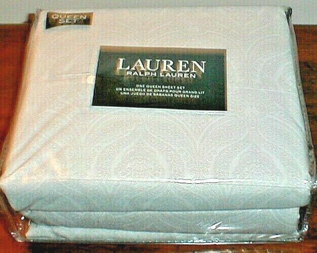 RALPH LAUREN PAISLEY FLORAL TAN WHITE 100% COTTON 4 PC. QUEEN SHEET SET