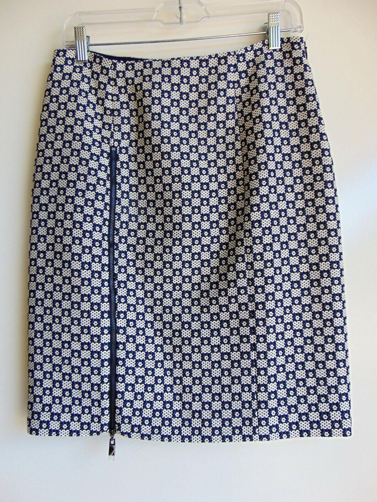 Worth New York Bridgette Zip Woven Navy & White Woven Skirt NWOT  398 size 4