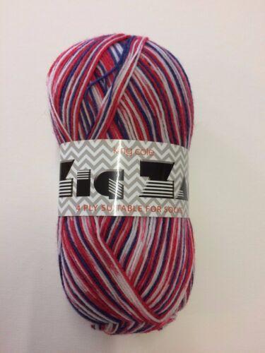 KING COLE ZIG ZAG 4 Plis Sock Yarn 100 G boule