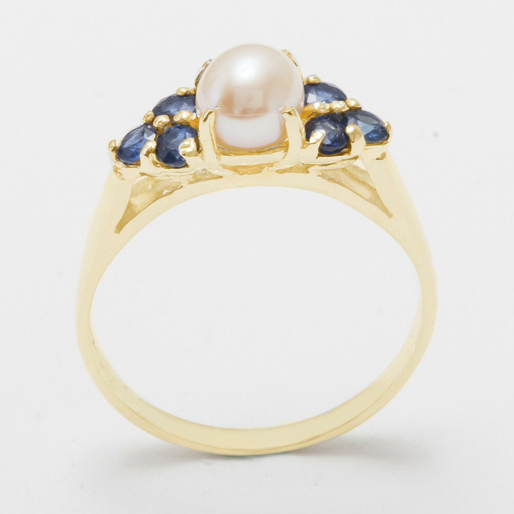 18ct 750 Yellow gold Full Pearl & Sapphire Womens Cluster Ring - Sizes J to Z