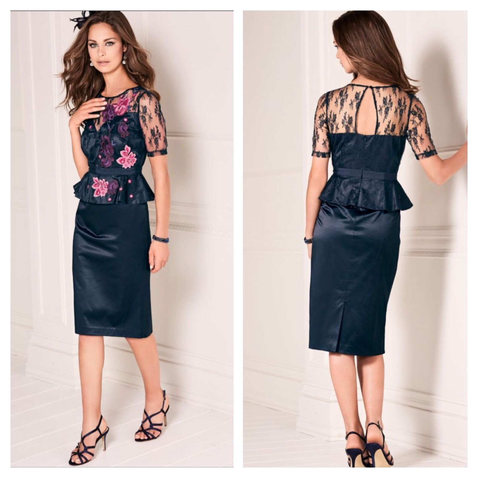 Kaleidoscope Size 8 Simply Navy Peplum Lace Embroidered DRESS Races  Party