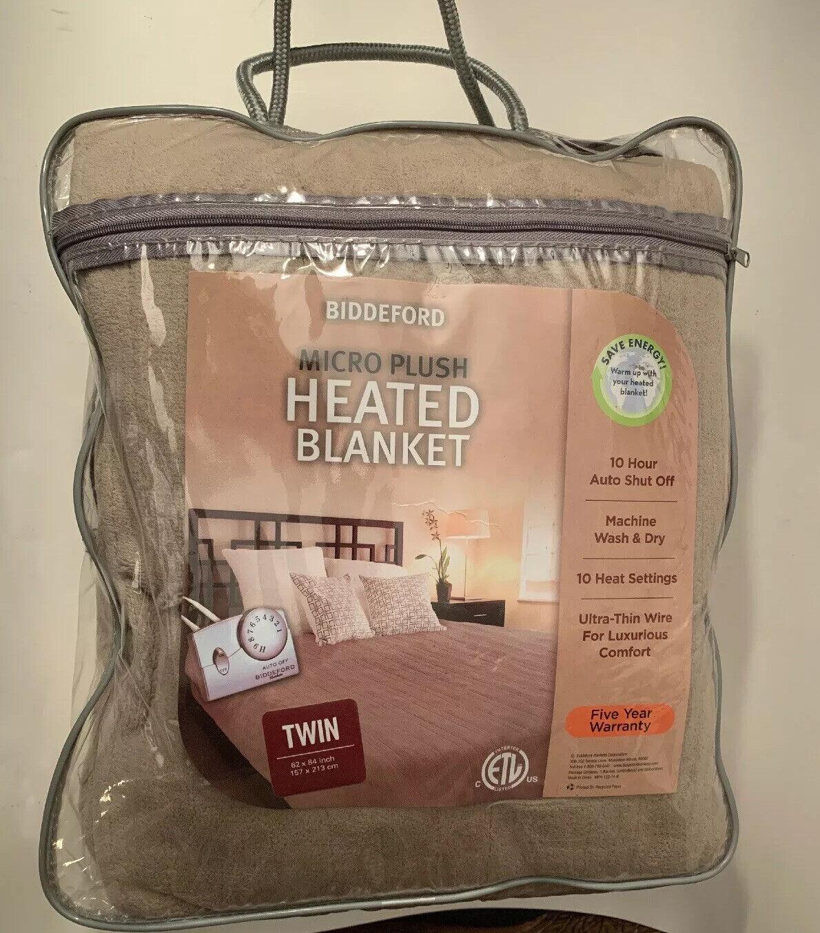 Biddeford Micro Plush Electric Heated Blanket Twin Taupe 10 Heat Settings Nip For Sale Online