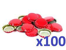 100 Rouge Bière Maison Bouteille Couronne Bouchons 26mm Très Bonne Étanchéité
