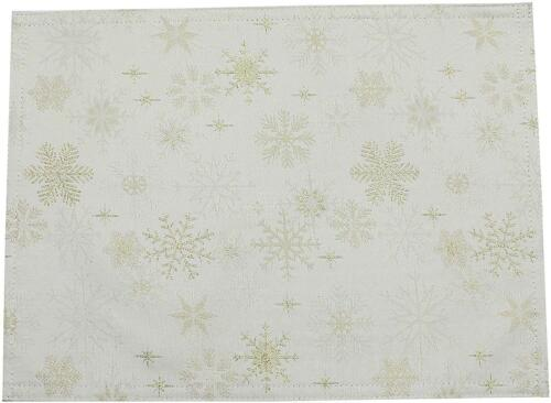PEGGY WILKINS CHAMPAGNE BEIGE GOLD SNOW CRYSTAL TABLECLOTH CHRISTMAS 67X100IN