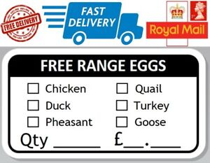 100 x Free Range Egg Box Stickers Hen Chicken Quail Duck Pheasant Turkey Goose