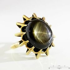Antique Vintage Art Deco Retro 14k Gold Black Star Sapphire Estate Ring! Sz 7