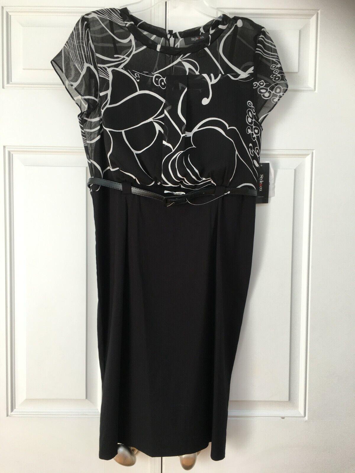 NEW Women's Black/White Lined Chiffon TOP & Black Skirt Dress w/ Belt Size 8/10
