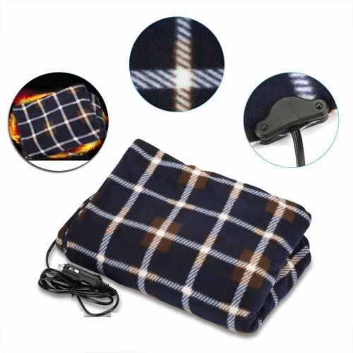 Winter Heated Electric 12V Travel Warm Fleece Throw for Cars in Blue Plaid
