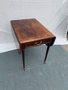Vintage Bernhardt Wood Flame Mahogany Drop Leaf Side Table Drawer Brass Wheels Ebay